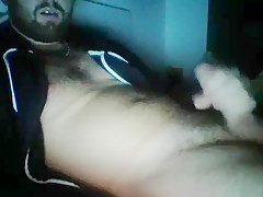 french beared beefy guy jerks off