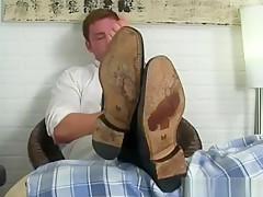 Guy in socks gets pleased