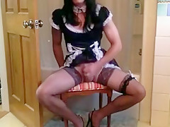 girlsy Maid bounces on cock and cums for dom